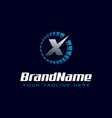 letter x spedometer logo tachometer speed logo vector image vector image