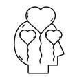 line silhouette man inside hearts balloon design vector image vector image