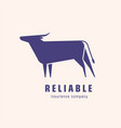logotype with silhouette bull or ox logo with vector image