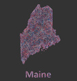 Maine line art map vector image vector image