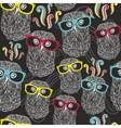 Night seamless pattern with disco owls in vector image vector image