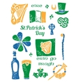 Patricks Day symbol set in lino style vector image