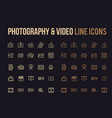 photography video line icon for app mobile vector image vector image