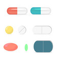 pills medicine capsule set pharmacy drugs vector image vector image