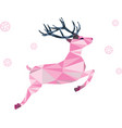 pink deer of triangle shapes and snowflakes vector image
