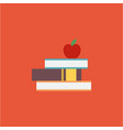 red apple on a pile of books vector image