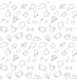 seamless doodle hand drawn pattern with social vector image