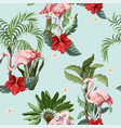 seamless pattern with pink flamingo flowers vector image vector image
