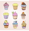 set cakes decorative sketch vector image