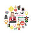 set of road symbols and woman driver character vector image vector image