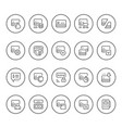 set round line icons credit card vector image vector image