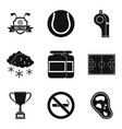 sport clubhouse icons set simple style vector image vector image