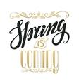 Spring is comingVintage letteringBlackgold vector image vector image