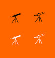 telescope black and white set icon vector image