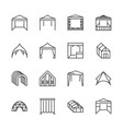 tent flat line icons event pavilion trade show vector image