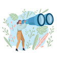 tourist woman looking in big binoculars far ahead vector image