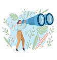 tourist woman looking in big binoculars far ahead vector image vector image