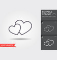 two hearts symbol of love line icon with shadow vector image