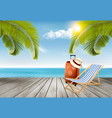 vacation background beach with tropical palm vector image