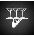 Waiter hand holding tray with martini glasses icon vector image vector image
