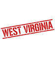 west virginia red square stamp vector image vector image