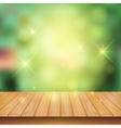 Wooden board with spark light and nature green vector image