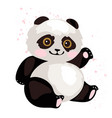 a cute panda is sitting and waving its paw simple vector image