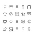 balloonery flat line icons balloons for birthday vector image vector image