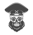 Bearded Skull with Captain cap and goggles Dead vector image
