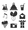 Black silhouette icons happy birthday vector image vector image