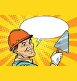 builder repairman with the tool trowel vector image vector image