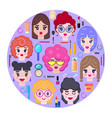 card with girls faces and cosmetics vector image vector image