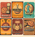 championship basketball sport game posters vector image