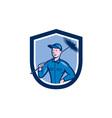 Chimney Sweep Worker Shield Cartoon vector image vector image