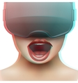 Concept of woman emotion with stereoscopic 3d VR vector image