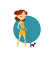 cool fashionable girl with little dog vector image vector image