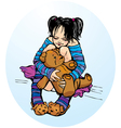 Cute little girl dressing funny slippers with Tedd vector image