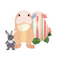cute rabbits and egg easter vector image