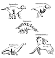 Dinosaurs with names Pencil sketch by hand vector image vector image