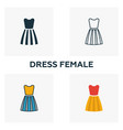 dress female icon set four elements in diferent vector image