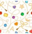 fashion seamless pattern with golden chains gems vector image vector image