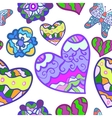 funny seamless background with heart butterfly vector image