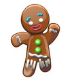 gingerbread man decorated colored icing isolated vector image vector image