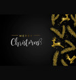 gold christmas pine tree and deer ornament card vector image vector image