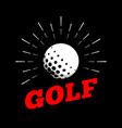 golf sport ball logo icon sun burtst print hand vector image