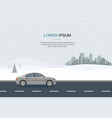 gray car drive in the road wintertime vector image vector image