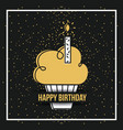 happy birthday cupcake candle burning sparkles vector image