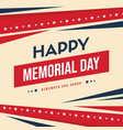 happy memorial day background card vector image