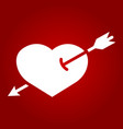 heart pierced with arrow glyph icon valentine vector image
