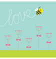 Heart stick flower set and flying bee Green grass vector image vector image